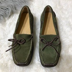 Sperry Topsider Green Suede Leather Moccasin